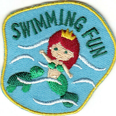 """Iron On Embroidered Patch Words Sports /""""SWIM PARTY/"""" Swimming Party Fun"""