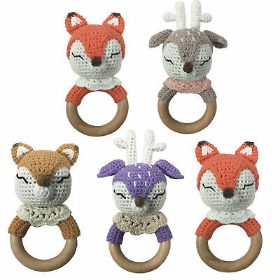 Natural Wood Ring Crochet Knit Animal Baby Teething Chewable Handmade Rattle Toy