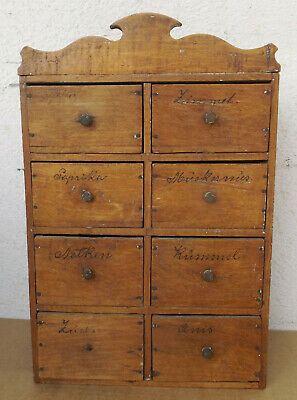 Antique Brown Wood Spice Wall Cabinet/Case Mit 8 Drawers
