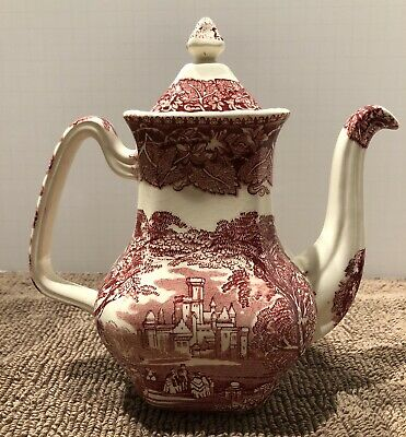 Vintage Mason's Ironstone Vista England Pink Transferware Coffee Pot Beautiful!