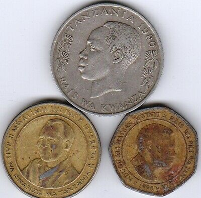 3 different world coins from TANZANIA