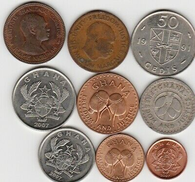 10 different world coins from GHANA