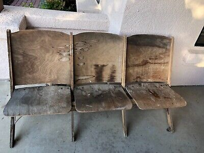 Antique Vintage Theater Seat Triple Folding Chairs. Wood is good condition