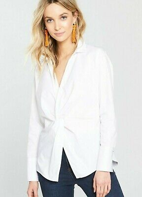 River Island White Shirt Size 8 Long Sleeve Twist Front Cotton BNWT