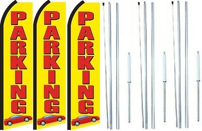 Marble /& Granite cabinets Open King Swooper Feather Flag Sign Kit with Pole and Ground Spike Pack of 3
