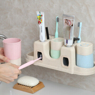 Automatic Toothpaste Dispenser + Toothbrush Holder Cup Wall Hanging MountedSet
