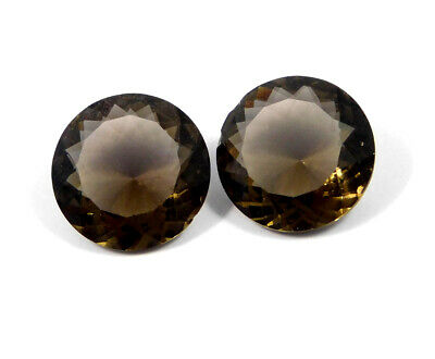 37 Cts. Natural Faceted Pair Of Round Brown Hydro (Smoky Color) Gemstone AAK1173