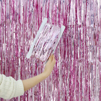 1M-4M Foil Fringe Tinsel Shimmer Curtain Door Wedding Birthday Hen Party Decor