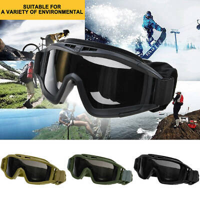 3 Lens UV Protection CS Airsoft Tactical Military SWAT Goggles Eye Glasses Mask