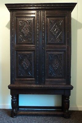 VICTORIAN CARVED OAK CUPBOARD in 17th century FLEMISH STYLE
