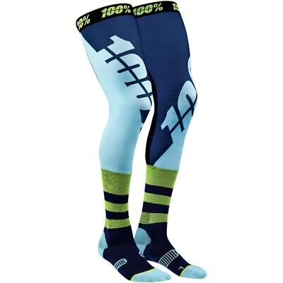 100% Rev Knee Brace Moto Socks MX Motocross Strümpfe Beinlinge blau/grün