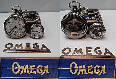 Rare Antique Piccolo Omega Swiss Made Pocket Watch Solid Silver Box And Chain