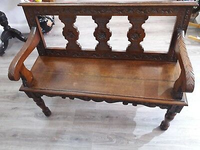 Bench settle hall seat Antique carved ornate bench victorian ? double seat