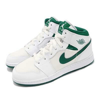 30bbf72e1992ba Nike Air Jordan 1 Mid SE GC GS White Mystic Green AJ1 Kid Women Shoes CD6760