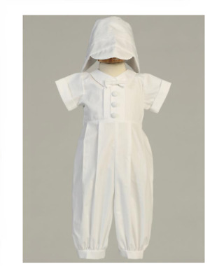 White Cotton Christening Outfit & Bonnet   Size 3 - 6 Mth