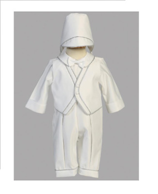 White Satin Christening Outfit with Silver Trim and Bonnet  Size 3 - 6 Months