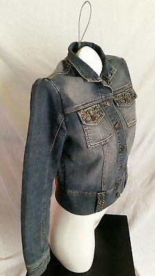 2faeaaa6c Hint Denim Jean Jacket blue with factory fading Stud bling Cropped Size  Medium