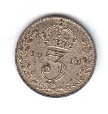 Silver 3d threepence 1911 George V