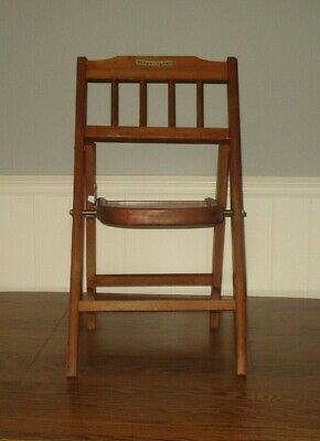 """Vintage 1940s """"BABEE-TENDA"""" FOLDING CHAIR Solid Wood Child's Chair  EUC"""