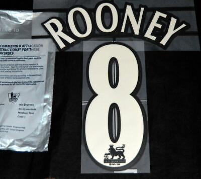 Official Manchester United Rooney 8 Football Shirt name/number 1997/07 Lextra