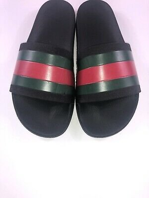 6c9e056974a GUCCI SLIDE MENS Sz 11 Black Signature Stripe Rubber Sandal Pool ...