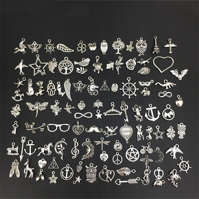 100 Different Style Alloy Small Pendant Necklace Bracelet Pendant Handmade Diy