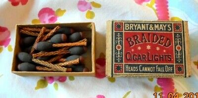 Vintage Match box Bryant and May's Braided Cigar Lights with Matches inside