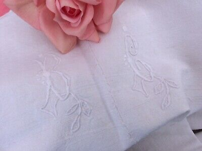 Vintage French Homespun Linen Metis Sheet Fabric Mono B C  192 X 232 Cms