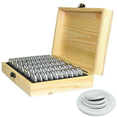 50 pcs Round Wood Coins Display Storage Box Collectible Case For Certified Coin
