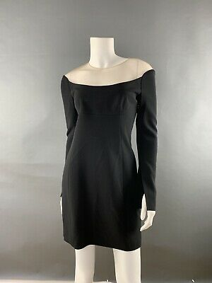 NWT Alexander Wang Woman Dress  Cocktail SZ 4 Long Sleeves Black With Nude Mesh