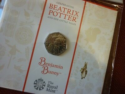ROYAL MINT BEATRIX POTTER BENJAMIN BUNNY 50p COIN BU UNCIRCULATED (UNOPENED)