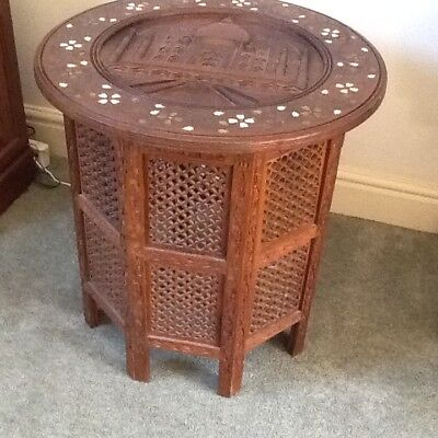 ANTIQUE  OCTAGONAL FOLDING  ANGLO/ INDIAN  SIDE TABLE   Taj Mahal Carved ...