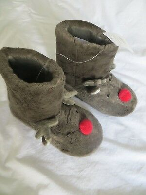 BNWT Girls Boys White Company Novelty Rendeer Faux Fur Boot Slippers Size 10-11