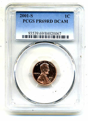Pcgs Pf69 Rd Deep Cameo 2001 S Lincoln Proof Dcam Gem Bu 1C Cent Penny Coin#3016