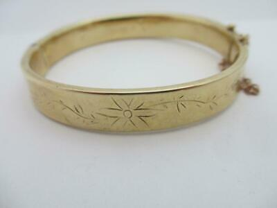 Forget Me Not Flower 9k Gold Bangle Bracelet Vintage English 1967. tbj07196