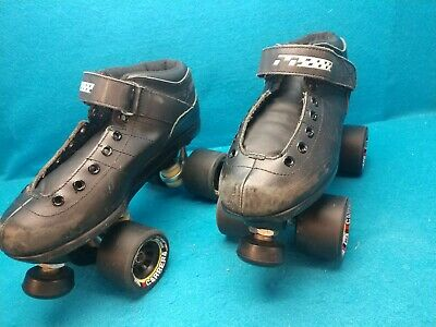Riedell Carrera Black Leather Speed Roller Skates Carrera/ Wheels Youth Size (?)
