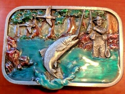 Vintage 1982 Trout Fishing Commemorative Pewter Siskiyou Belt Buckle