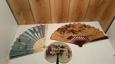 """vintage oriental hand fans lot of 3  13"""", 12"""" & 5 1/2"""" closed hand painted scene"""