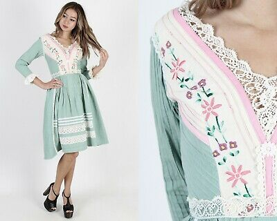 4691ae1693e Vintage 70s Mexican Wedding Dress Floral Embroidered Sage Crochet Lace Mini