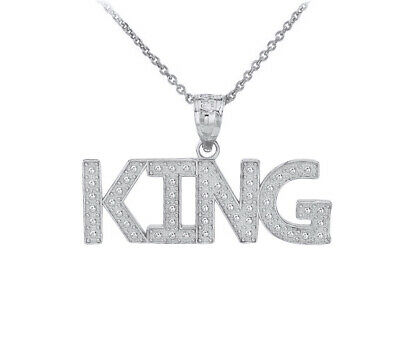 .925 Sterling Silver KING Hip Hop Music Bling Pendant Necklace