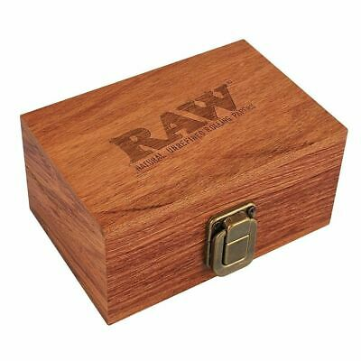 RAW Wooden Box - 1 Box - Storage Case Stash Magnetic Wood Brown Rolling Paper