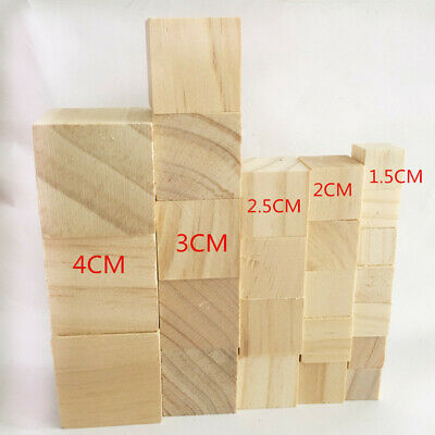 Natural Wooden Cube Building Blocks Baby Room Nursery Decor DIY Carved Crafts