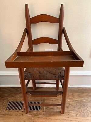 Vintage/Antique Child/Doll's Original Painted Splint Seat Ladderback High-Chair
