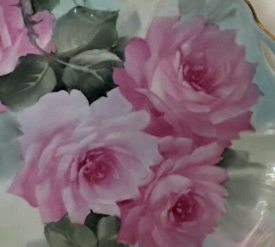 PINK ROSES Hand Painted 10-in Reticulated Fancy Plate  Gold Rim Signed