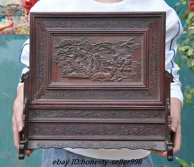 Old Chinese Red rosewood Wood Carved Longevity god Pine Crane Bat Dragon screen