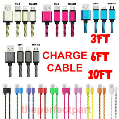 Braided USB Charger Cable Sync Charging Cord Micro USB Lightning USB C Type C