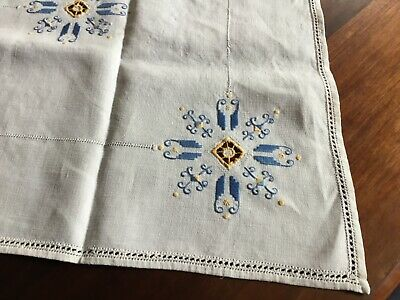 Vintage Linen Blue Yellow Suppercloth Repurpose?