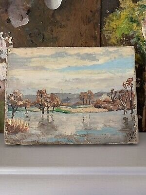 Petite Vintage French Landscape Oil Painting On Canvas Shabby Chic
