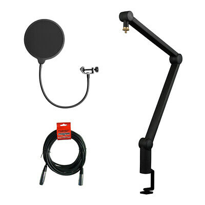 Blue Compass Premium Tube-Style Broadcast Boom Arm w/ Kelloy Pop Filter & Cable