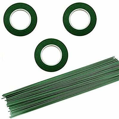 3 Rolls Flower Paper Tape with 50 Pieces Floral Stem Wire 16 Inch